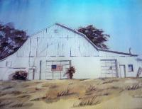 Landscapes - White Barn - Watercolor