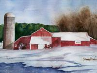 Landscapes - Red Barn - Watercolor