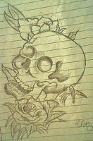 Drawing - Skull-N-Rose - Shading Pencilsprisma Colors
