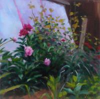 Landscape - Peonies - Oil On Canvas
