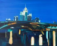 Moscow By Night - Oil Colour On Canvas Paintings - By Claudia Luethi Alias Abdelghafar, Realistic Painting Artist