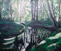 Oil Painting On Canvas - Forest Playing With The Sunlight - Oil Colour On Canvas