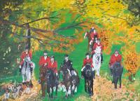 Oil Painting On Canvas - Hunting Scene - Oil Colour On Canvas