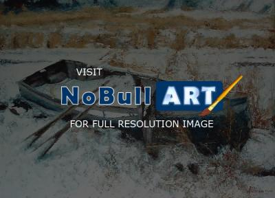 Paintings - Winter Boat - Oil Paints