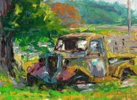 Retired Truck 2 - Oil Paints Paintings - By Chris Palmen, Impressionism Painting Artist