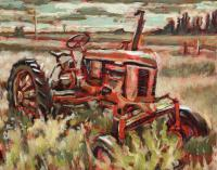 Paintings - Red Tractor - Acrylic