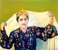 Uzbek Girl - Oil On Canvas Paintings - By Margalit Feldbaum, Portrait Painting Artist