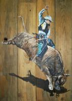 Art On Wood - Bull Rider - Acrlic