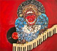 Sarahs Jamming - Broken Cds Mosaic And Acrylic Mixed Media - By N Feyer, Abstract Realism Mixed Media Artist