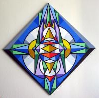 Abstract Geometric - Hello World - Acrylic On Canvas