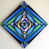 Abstract Geometric - Big Sister Is Watching You - Acrylic On Canvas