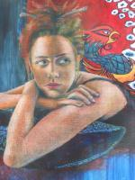Together We Gazed - Oil Pastels Over Watercolors Mixed Media - By Anita Dewitt, Portraiture Mixed Media Artist