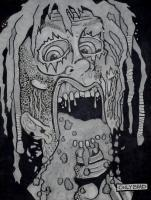 Battery Acid Face Peel - Graphite And Ink Drawings - By Bradford Beauchamp, Visual Caffeine Drawing Artist