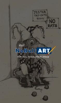 Black And White Illustration - No Rats - Graphite And Ink