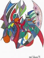 Kris Thykeson Abstracts - Samurai Swords - Pen And Ink Colored Marker And