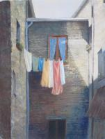 Laundry Day - Pastel Paintings - By Howard Scherer, Realistic Landscape Painting Artist