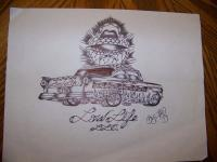 Hot Rod Collection - 57 Chevy Bel-Air Lowrider Art - Pencil  Paper