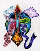 Drawings - Christ Tattoo - Colored Pencil