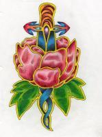 Drawings - Dagger Rose Tattoo - Colored Pencil