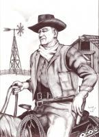 Western - Tall In The Saddle John Wayne - Ink And Pencil