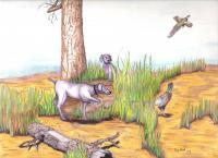 Realistic - Bird Dogs And Ringneck Pheasants - Mixed Media
