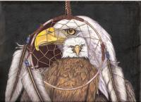 Realistic - Eagle And Dream Catcher - Mixed Media