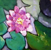 Lotus And Lily Pads - Oil On Museum Quality Flat Pan Paintings - By Helen Gallaway, Painterly Painting Artist