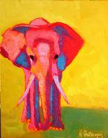 Animals - Yellow Elephant - Oil On Museum Quality Flat Pan