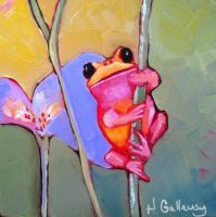 Animals - Pink Frog - Oil On Museum Quality Flat Pan