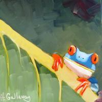 Animals - Blue Frog - Oil On Museum Quality Flat Pan