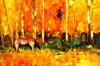 Horse In The Aspens - Oil On Canvas Paintings - By Helen Gallaway, Painterly Painting Artist