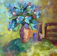 Flowers - Hydrangea Au Table - Oil