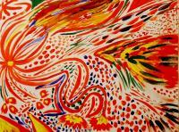 Fire Bird - Watercolor Paper Paintings - By Julia Veytsner, Abstract Painting Artist