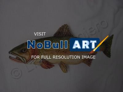 Living Waters - Wooden Cut Throat Trout 2 - Wood Watercolors Varnish