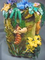 Polymer Clay Art - Jungle Life Vase - Polymer Clay