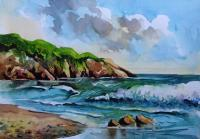 Seascape By Sumit Datta - Seascape 13 2017 - Watercolor