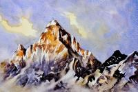 Mountains Painting By Sumit Da - Mountain Peak 5 - Watercolor