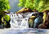 Waterfalls Painting - Waterfalls 9 - Watercolor