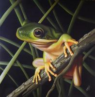Green Tree Frog - Wicked Acrylics Paintings - By Dallas Nyberg, Realism Painting Artist