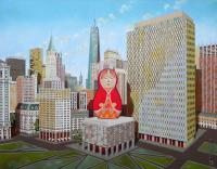 Architecture - Civic Center In New York With Matrioska - Oil On Canvas