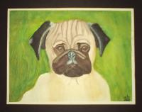 The Pug - Watercolors Paintings - By Mark Luther, Representational Painting Artist