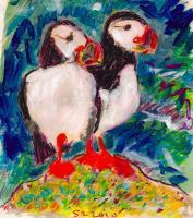 Puffins Sea - Mixed Paintings - By Samuel Zylstra, Flicker Art Painting Artist