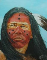 Maenetse Red Eagle - Acrylic Paintings - By Bob Child, Realism Painting Artist