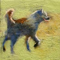 Husky - Encaustic On Panel Paintings - By David Fielding, Simi- Abstract Painting Artist