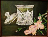 Candy Jar And Iris - Acrylic Paintings - By Cynthia Clark-Mahan, Realism Painting Artist