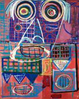 Expressionism Abstract - Face In The City - Acrylic On Canvas