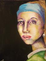 Gal With A Pretty Earring - Acrylic Paintings - By Ash Henry, Portrait Painting Artist