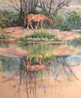 River Reflection - Pastel Paintings - By Matthew Thornburg, Realism Painting Artist
