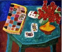 Still Life - Still Life On Green Tablechess Cards  Flowers - Oil On Canvas
