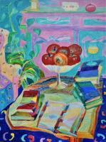 Still Life - Still Life  Apples In Oval And Books - Acrylic On Canvas